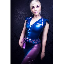 "Latex Bluse ""Retro Scale"""